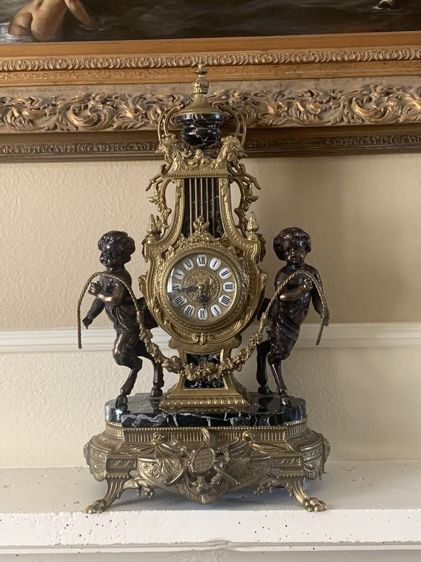 Antique marble and brass clock/candelabra
