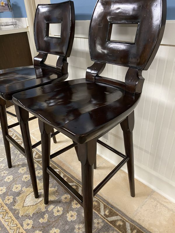 Barstool pair- solid wood, swivel seat