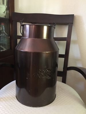 """Milk can tin about 16"""" talk. Nice rose on each side. Decorative and used to hold scented pine cones in our home. for Sale in Tacoma, WA"""