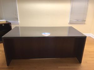Large wood desk with glass top for Sale in Tacoma, WA