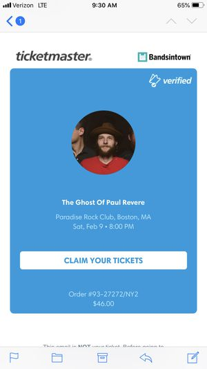 Two tickets to Ghosts of Paul Revere for Sale in Boston, MA