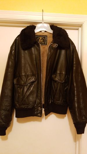 Vintage! Leather Bomber/Flight Jacket with Fake Fur Collar (Size 46) for Sale in Baltimore, MD
