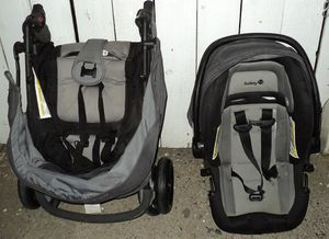 Safety First Baby Stroller and Infant Car Seat Matching Set, Black & Grey for Sale in Modesto, CA
