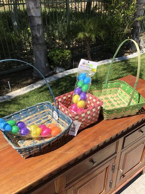 Easter baskets and 2 dozen plastic eggs for Sale in Chino Hills, CA
