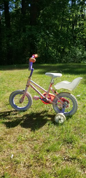 "12 1/2"" Girls Sparkle Pink Bike With Training Wheels & Doll Seat for Sale in Billerica, MA"