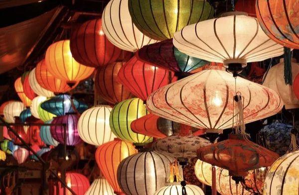 Set of 6 silk lanterns from Vietnam