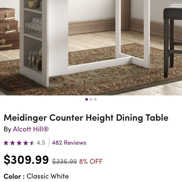Counter Height Dining Table - Like New!