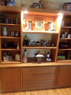 Solid oak display and storage center for Sale in Hauppauge, NY