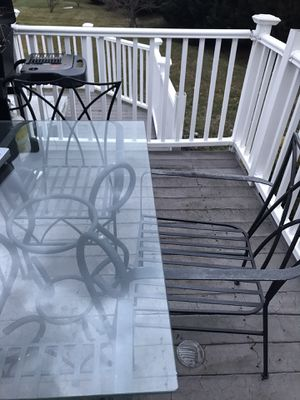 Wrought iron patio set, seatee and grill with tank for Sale in Lewes, DE
