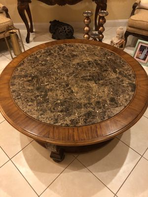 Coffee Table and end table set marble top. Solid wood. for Sale in Miramar, FL