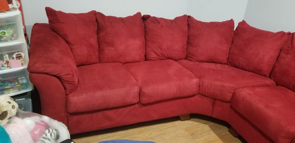 Ashley Furniture Red Microfiber Sectional Couch