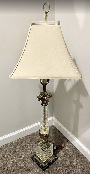 Vintage Antique 40 Inch Tall Brass Crystal Cut Glass And Marble Ornate Pillar Banquet Parlor Buffet Table Lamp With Classy Shade for Sale in Chapel Hill, NC