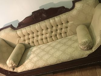 "Vintage Victorian Rolled Arm Sofa 84"" Pale Yellow for Sale in New Kensington,  PA"