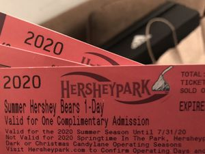 Hershey Park All Day passes- 5 available for Sale in Harrisburg, PA