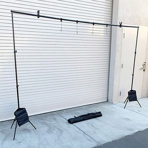$35 (new in box) tripod backdrop stand adjustable 10ft wide x 6.5ft tall with clips, sandbag and carry bag for Sale in Whittier, CA