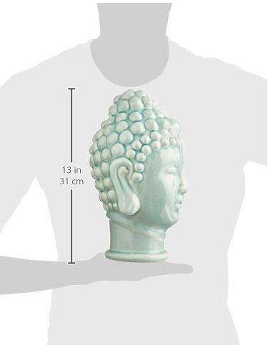 NEW Buddha Head statue - Ceramic, Jade Green