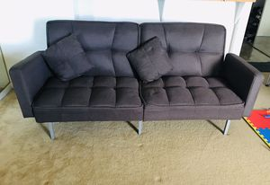Convertible linen split back futon w/ Tufted fabric, 2 pillows. for Sale in Oakland, CA