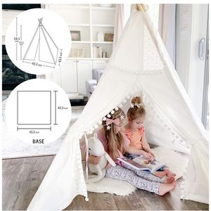 Children Indian Play Tent Lace and Pompom Ball Design with Led String Light Feathers Decoration for Sale in Windermere, FL