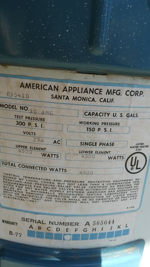 America glass water heater 30 gallon 4500 watt for Sale in Fresno, CA