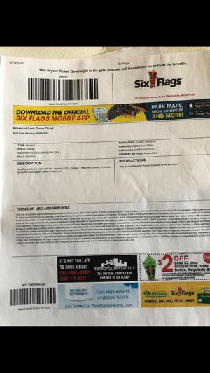 5 individual six flag tickets $25 each ticket for Sale in Silver Spring, MD