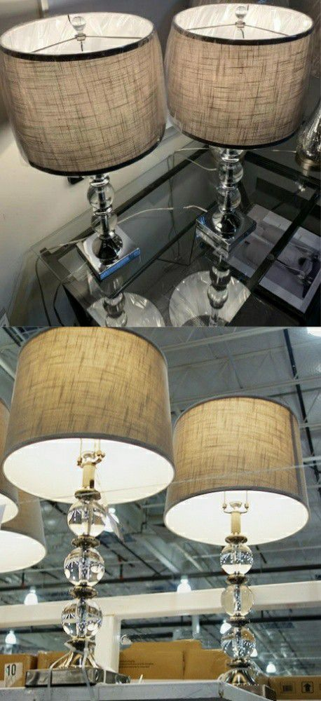 """New in box 2 pack bridgeport designs table light modern style elegant 29"""" tall table lamps with natural shade lamp"""