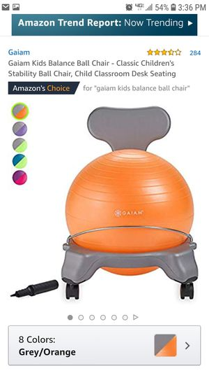 Gaiam Kids Balance Ball Chair - Classic Children's Stability Ball Chair, Child Classroom Desk Seating for Sale in Montclair, CA