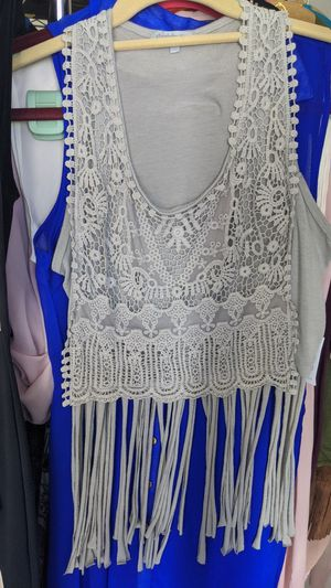 Size small sleeveless shirt light grey with fringe for Sale in Gilbert, AZ