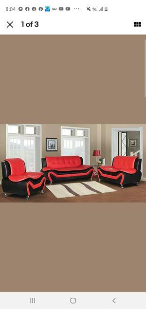Black Red sofa chair & loveseat💕 for Sale in Auburn, WA