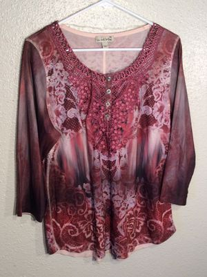 Brand New Fuchsia Women's Live and Let Live Long Sleeve Top Sweater Tunic in package - size L-XL for Sale in Austin, TX