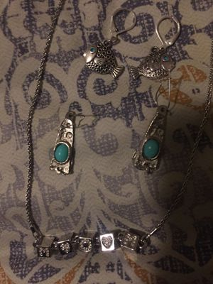 Silver chain n 2 pair silver earring +charm for Sale in North Little Rock, AR