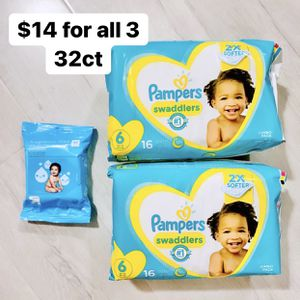 2 Packs Of Size 6 (35+ Lbs) Pampers Swaddlers (32 Baby Diapers) + 1 Pack 20ct WlPES for Sale in Anaheim, CA