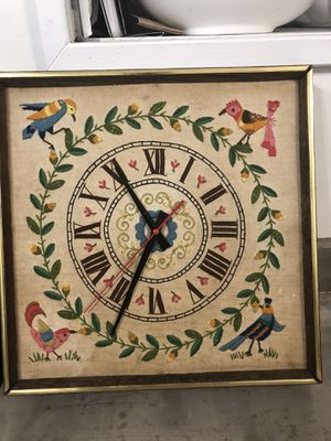 Vintage Embroidered Clock for Sale in Hollister, CA