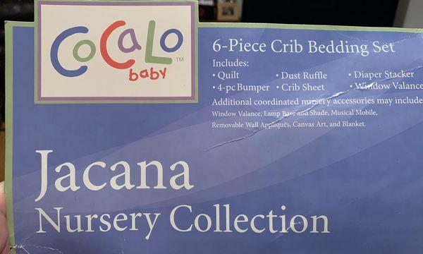 CocaLo crib set and hamper