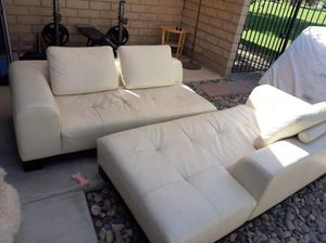 White Leather couches for Sale in Indio, CA