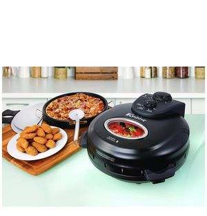 Euro Cuisine PM600 Crispy Crust 12 Rotating Pizza Maker with Stone & Baking Pan Counter Top Black for Sale in Concord, NC