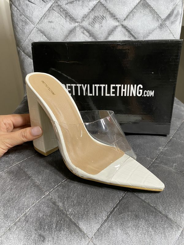 White Croc Patent Perspex Heels