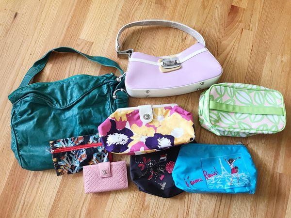 Bundle - Handbags, Makeup Bags, & Wallet (Deux Lux, Clinique, Lancôme)