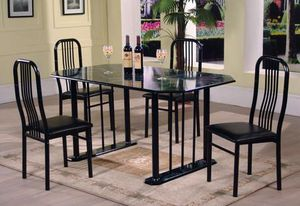 Iris 5-Piece Black Marble Top Dining Room Set by Global for Sale in Jessup, MD
