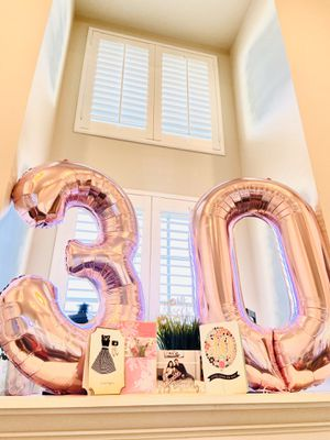 30 Rose Gold air-filled Number Balloons - Like New for Sale in Glenview, IL