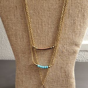 Turquoise & Gold Long Layered Necklace for Sale in Bloomington, IL