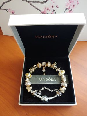 New in box Authentic Pandora Bracelet with golden European Charms for Sale in Schaumburg, IL