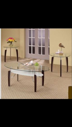 3pc Modern Oval Metal and Glass Coffee & End Table Set for Sale in Houston, TX