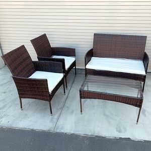 """$190 (new in box) small outdoor patio set 4 pcs wicker rattan furniture seat sizes (37x19"""", 19x19"""") assembly required for Sale in Whittier, CA"""