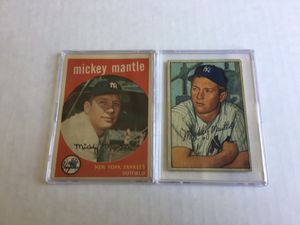 1952 Bowman & 1959 Topps Mickey Mantle Cards! Lot of 2! Very good to excellent condition! for Sale in Visalia, CA