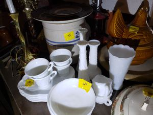 Antique crock, milk glass. Etc for Sale in Houston, TX