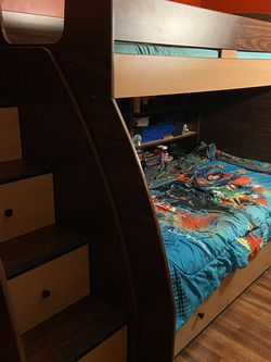MUST GO - Twin Over Twin Bunk bed with Storage for Sale in Queens,  NY