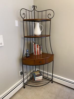 Cherry and Wrought Iron Corner Bakers Rack for Sale in Briarcliff Manor, NY