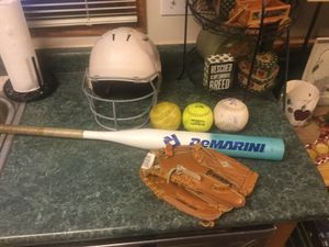 "Softball package including a like new Franklin 11"" glove, DeMarini softball bat 32"" 21 ounce, Under Armour batting helmet with front cage and 3 so for Sale in Plainfield, IL"