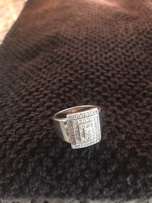 Sterling Silver Tiered Diamond Wide Band Ring for Sale in Melbourne, FL