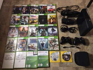 XBOX 360 WITH 34 GAMES 2 WIRELESS CONTROLLERS AND KINECT for Sale in Sacramento, CA